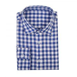 Blue Bold Check Linen Shirt