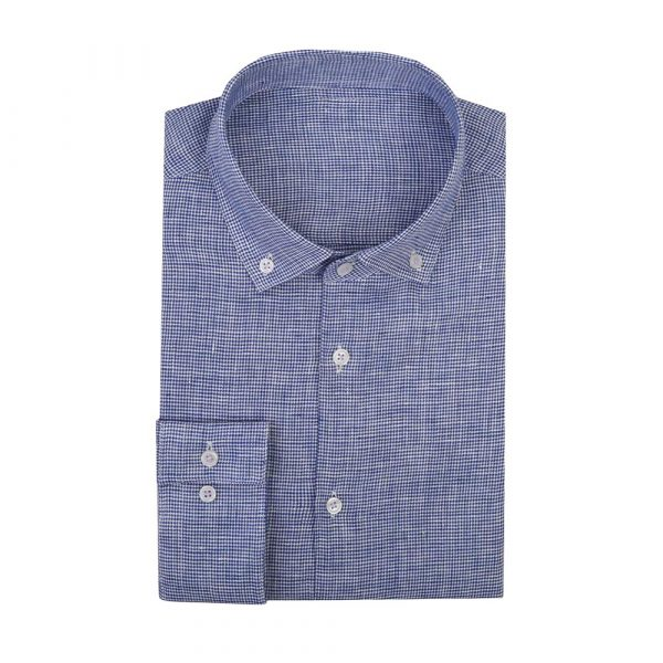 Blue casual patterned shirt sq