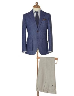 Blue Herringbone Jacket