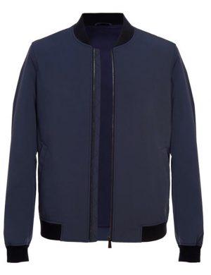 Blue Zip Bomber Jacket