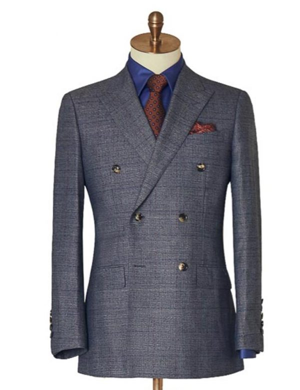 Dark Grey Double Breasted Check Suit j