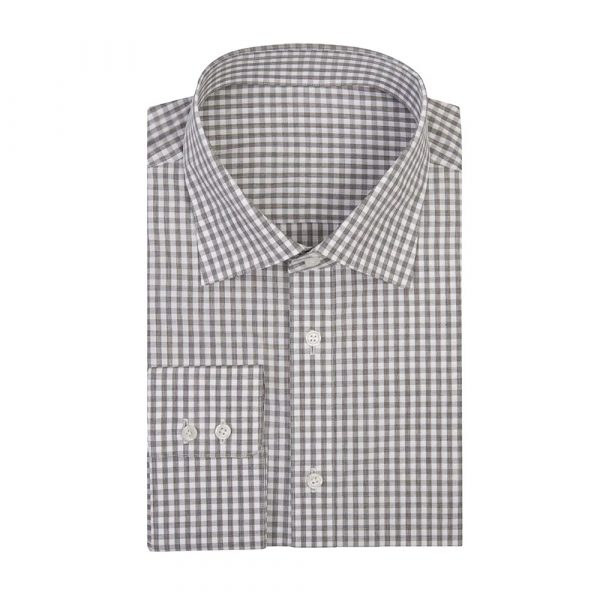 Grey check shirt sq
