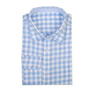 Pale Blue Linen Check Shirt