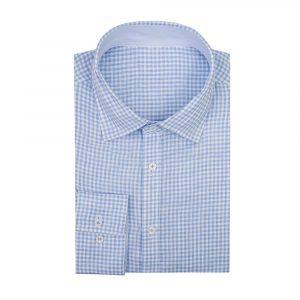 Light Blue Linen Check Shirt