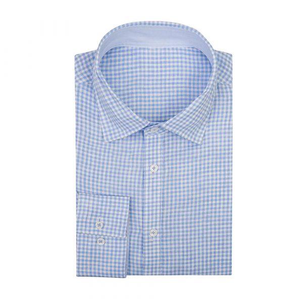 Light blue check shirt sq