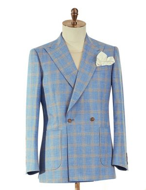 Light Blue Beige Check