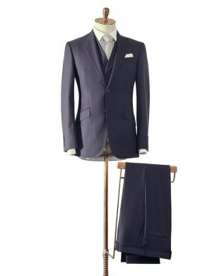 Navy Herringbone Three Piece Suit