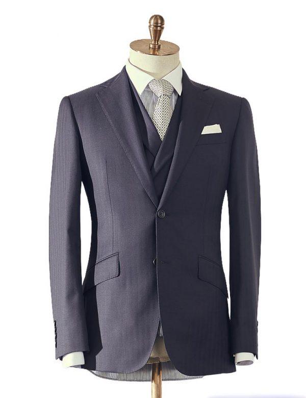 NavyHerringboneThreePiece Suit