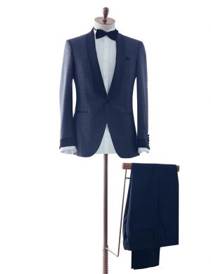 Navy Patterned Dinner Suit