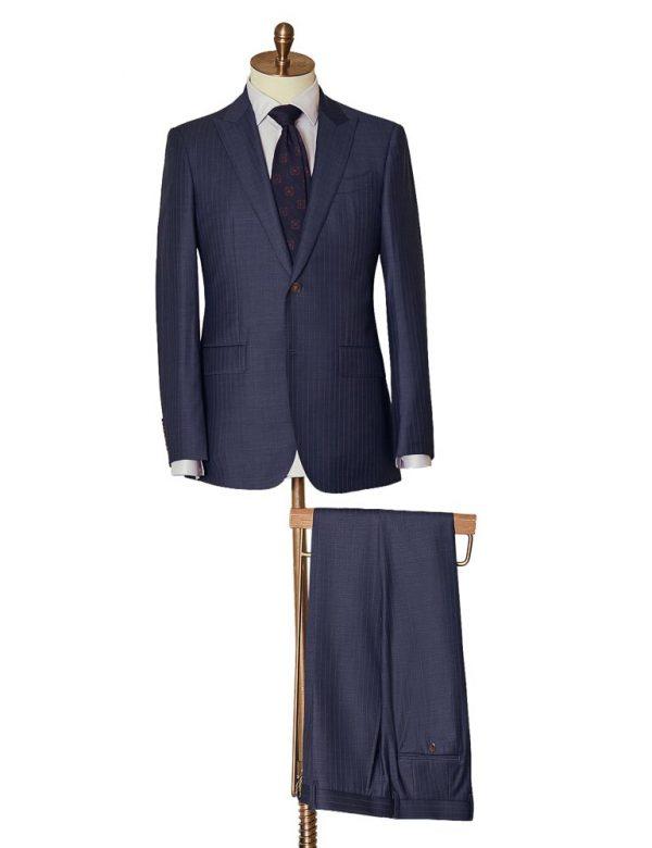 NavySelfStripeTwoPiece Suit 2