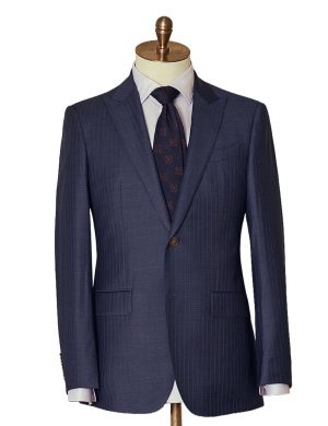 Navy Self Stripe Two Piece Suit