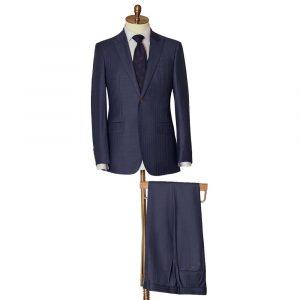 Navy Self Stripe Two Piece Suit