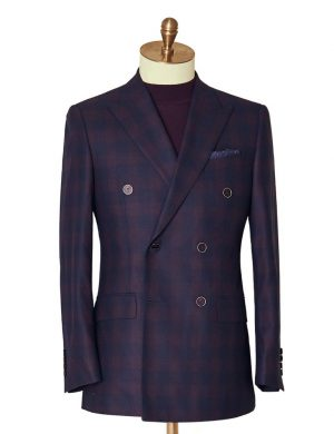 Navy & Burgundy Double Breasted Suit