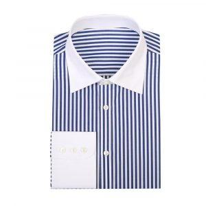 Stripe Contrast Collar Shirt