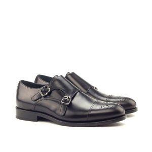 Black Double Monk Strap Shoe