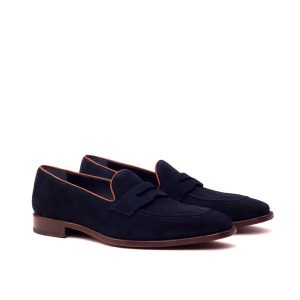 Blue Suede No Tassel Loafer
