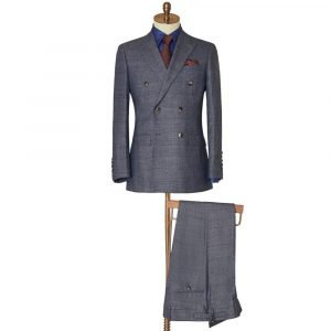 Dark Grey Double Breasted Check Suit