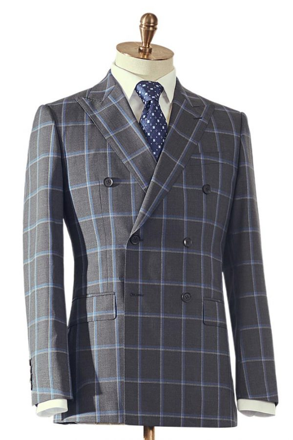 Grey Blue Box Check Double Breasted 2