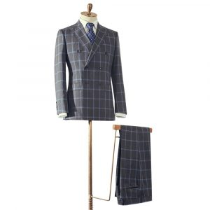 Grey & Blue Check Double Breasted Suit