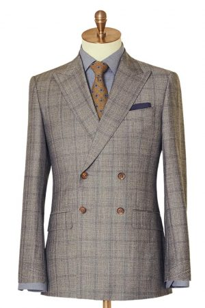 Light Grey Check Double Breasted Suit