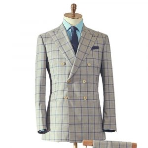 Light Grey Blue Double Breasted Suit