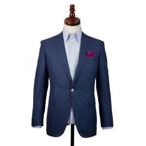 Blue Linen Herringbone Jacket