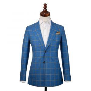 Blue Linen Mustard Check Jacket