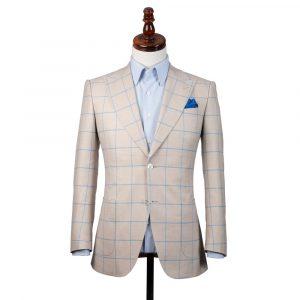 Cream Linen Check Jacket