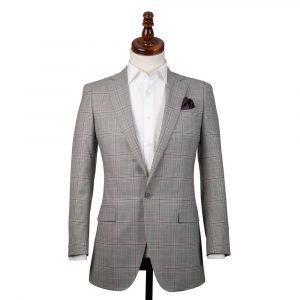 Grey Lilac Check Wool Jacket