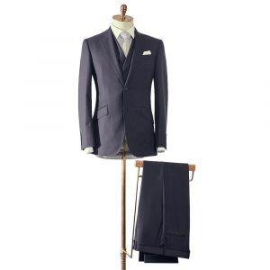 Navy Herringbone Three Piece Suit